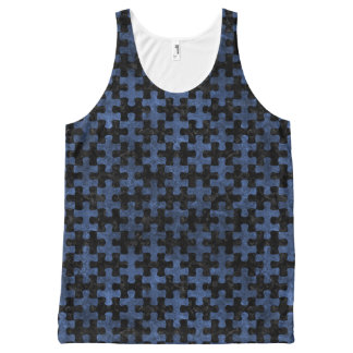 PUZZLE1 BLACK MARBLE & BLUE STONE All-Over PRINT SINGLET