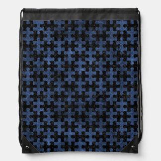 PUZZLE1 BLACK MARBLE & BLUE STONE DRAWSTRING BAG