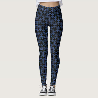 PUZZLE1 BLACK MARBLE & BLUE STONE LEGGINGS