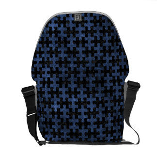 PUZZLE1 BLACK MARBLE & BLUE STONE MESSENGER BAGS