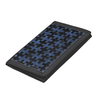 PUZZLE1 BLACK MARBLE & BLUE STONE TRI-FOLD WALLET
