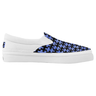 PUZZLE1 BLACK MARBLE & BLUE WATERCOLOR Slip-On SHOES
