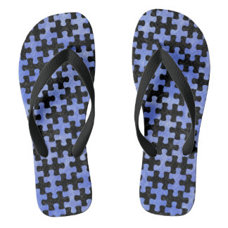 PUZZLE1 BLACK MARBLE & BLUE WATERCOLOR THONGS
