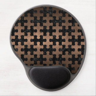PUZZLE1 BLACK MARBLE & BRONZE METAL GEL MOUSE PAD