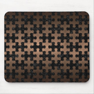 PUZZLE1 BLACK MARBLE & BRONZE METAL MOUSE PAD