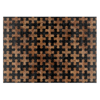 PUZZLE1 BLACK MARBLE & BROWN STONE CUTTING BOARD