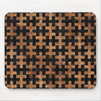 PUZZLE1 BLACK MARBLE & BROWN STONE MOUSE PAD