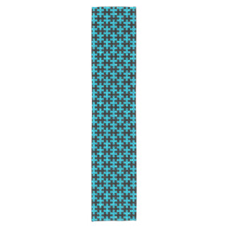 PUZZLE1 BLACK MARBLE & TURQUOISE MARBLE SHORT TABLE RUNNER