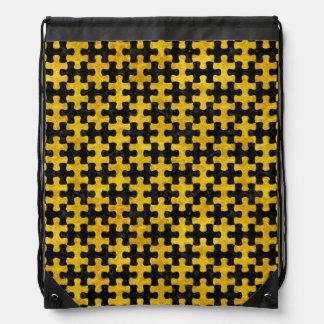 PUZZLE1 BLACK MARBLE & YELLOW MARBLE DRAWSTRING BAG