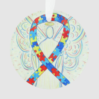 Puzzle Awareness Ribbon Angel Customized Ornaments