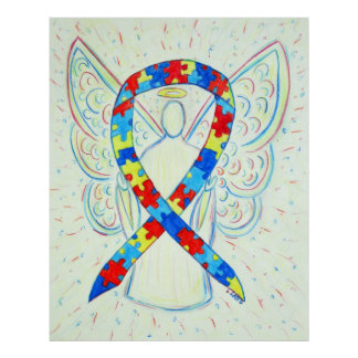 Puzzle Awareness Ribbon Angel Poster Art Print