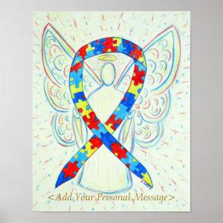 Puzzle Awareness Ribbon Guardian Angel Art Print