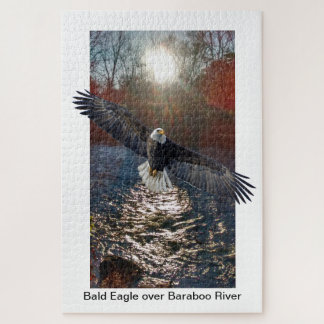 Puzzle, Bald Eagle over Baraboo River Jigsaw Puzzle