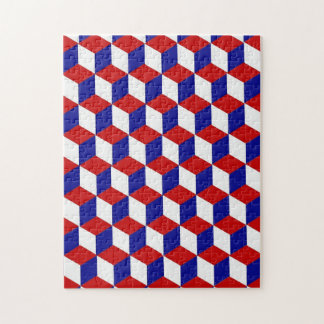 Puzzle - Block illusion in Red, White, and Blue