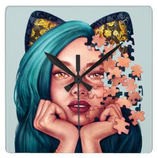 Puzzle Cat Girl Clock