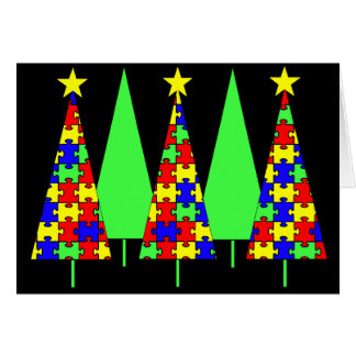 Puzzle Christmas Trees - Autism Awareness Greeting Card