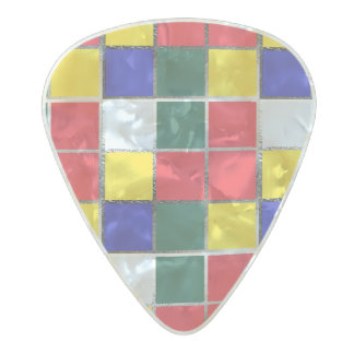 Puzzle Cube Gamer Primary Colors Colorful Red Blue Pearl Celluloid Guitar Pick