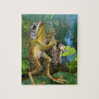 Puzzle, frog playing a saxophone. puzzle
