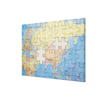 Puzzle Globe with two pieces missing Stretched Canvas Prints