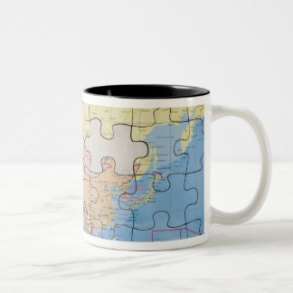 Puzzle Globe with two pieces missing Two-Tone Coffee Mug