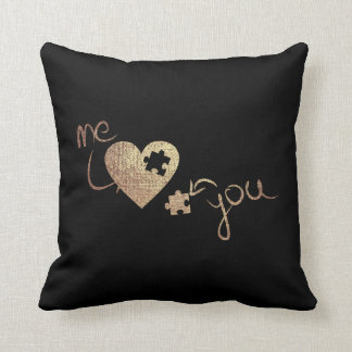 Puzzle Heart Pink Rose Gold Love Throw Pillow