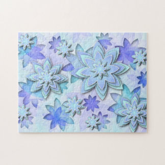 Puzzle mandala abstract lotus flowers