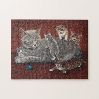 Puzzle Mommy cat and kittens KMCoriginals
