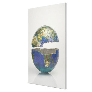 Puzzle of the globe stretched canvas prints