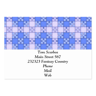 Puzzle Pattern blue Business Card Templates