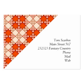 puzzle pattern red business cards