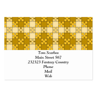 puzzle pattern yellow business card templates