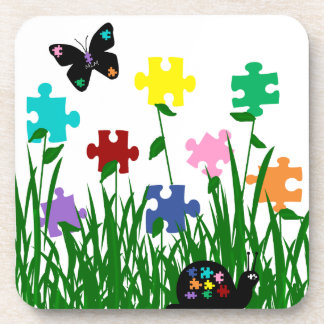 Puzzle piece flowers with friends Cork Coasters