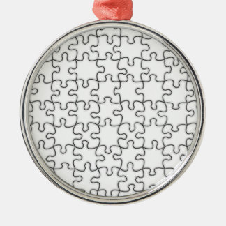 Puzzle Pieces  (Add Background Color or Image) Silver-Colored Round Decoration
