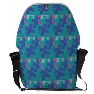 Puzzle Pieces Turquoise and Blue Messenger Bag
