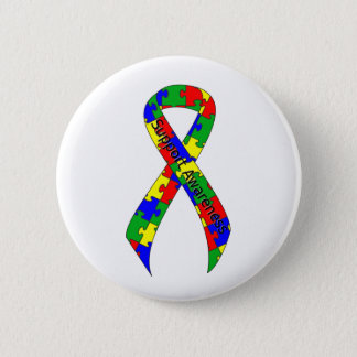Puzzle Ribbon Support Awareness 6 Cm Round Badge