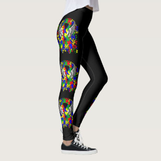Puzzle Ribbon With Wings Leggings