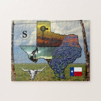 Puzzle - Texas - map, colourful photos, monogram