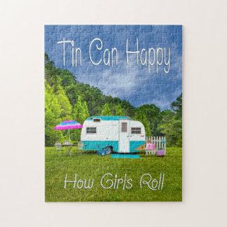 PUZZLE Tin Can Happy Vintage Camper