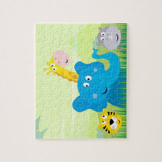 Puzzle with Cute safari 4 animals