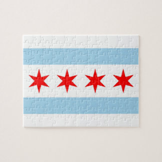 Puzzle with Flag of Chicago, Illinois