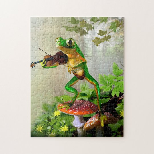 Puzzle with tree frog playing fiddle