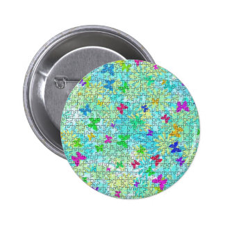 Puzzled Butterflies and Daisies 6 Cm Round Badge