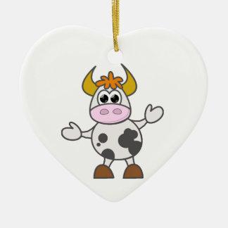 Puzzled Cow Ceramic Heart Decoration