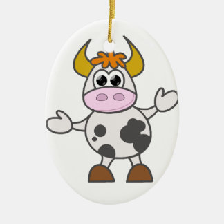 Puzzled Cow Ceramic Oval Decoration