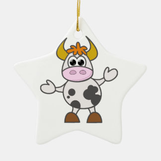 Puzzled Cow Ceramic Star Decoration