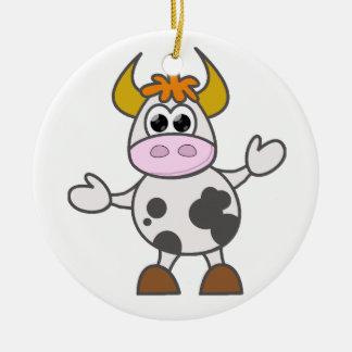 Puzzled Cow Round Ceramic Decoration