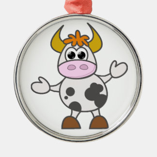 Puzzled Cow Silver-Colored Round Decoration