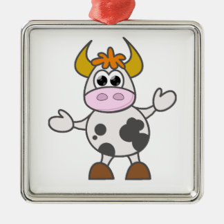 Puzzled Cow Silver-Colored Square Decoration