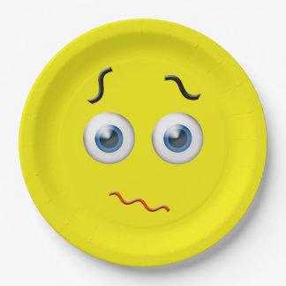 Puzzled Emoji Paper Plate