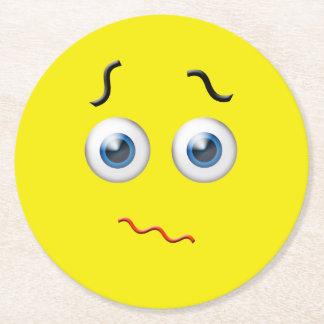 Puzzled Emoji Round Paper Coaster